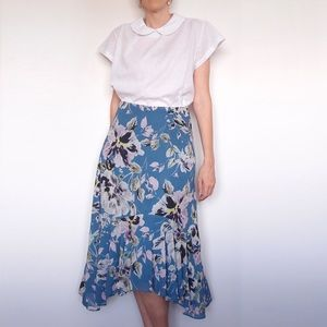 WITCHERY Blue Pink Floral Midi Skirt Ruffle Sz 10